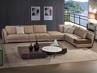 中式简约 真皮 实木 白蜡木 高弹舒适 2+2单+脚踏+左贵妃 沙发组合