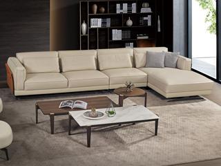 中式简约 真皮 实木 白蜡木 高弹舒适 1+3+左贵妃转角沙发