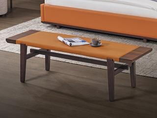 中式简约 白蜡木 皮艺床尾凳