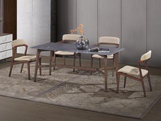 中式简约 中花白岩板 白蜡木 长1.4米餐桌