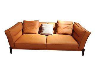 中式简约 真皮 实木 乳胶羽绒 舒适柔软 双扶手3人位沙发