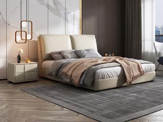 极简风格  充盈软靠 实木 米黄色 皮艺 1.5米双人床