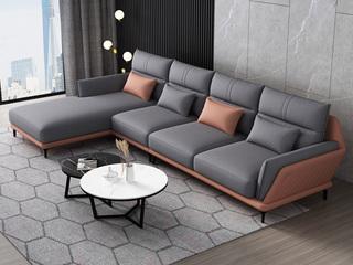 现代简约 科技布  实木框架 高弹海绵 转角沙发(1+2+右贵妃) 靠包腰枕随机发