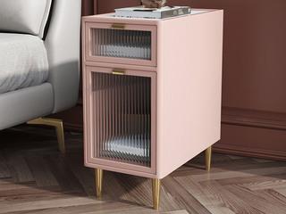 轻奢风格 岩板台面 全实木 长虹玻璃  奶油粉 床头柜