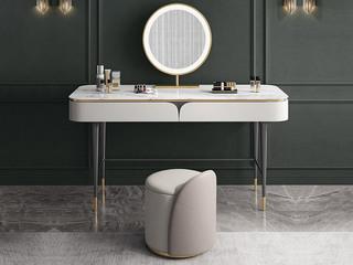 轻奢风格 岩板台面 圆形化妆镜 妆台+妆镜+妆凳组合