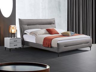 极简风格 舒适软靠 高端皮艺+实木框架 深灰色 1.5米 床