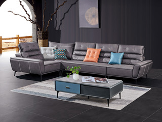 极简风格 高弹坐感 超柔科技布+乳胶+羽绒 实木框架 左贵妃 转角沙发(靠头可调节)