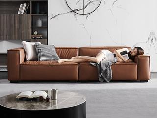 现代简约 高弹舒适 防水科技布+羽绒+公仔棉 3.4米 2+2组合沙发