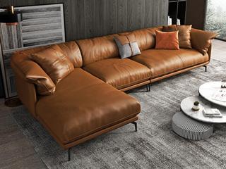 极简风格 超柔舒适 全实木框架+白鹅羽绒靠包 1+3+右贵妃 科技布沙发