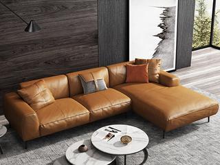 极简风格 超柔舒适 全实木框架+白鹅羽绒靠包 3+左贵妃 仿真皮沙发