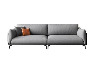 极简风格 舒适透气 意大利进口麻棉面料+全实木框架+白鹅羽绒靠包 大四人位 皮布结合沙发