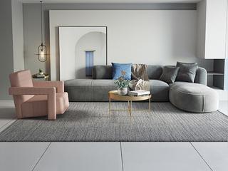 极简风格 高弹舒适 全实木框架+公仔棉+乳胶 1+3+左贵妃 绒布沙发