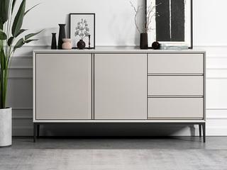 极简风格 防刮耐磨岩板台面 优质磨砂五金脚 杏色长1.2米餐边柜