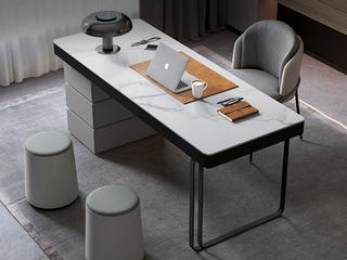 极简风格 防刮耐磨岩板台面 大容量储物 防撞圆润边角 承重力强 长1.6米书桌