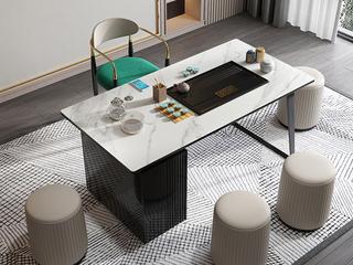 极简风格 防刮耐磨岩板桌面 多功能储物柜 健康环保 长1.8米茶台
