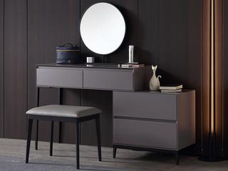 极简风格 双抽式大容量实木储物抽屉 高弹舒适 妆台+妆镜+妆凳+边柜 实用一体式长1米妆台组合