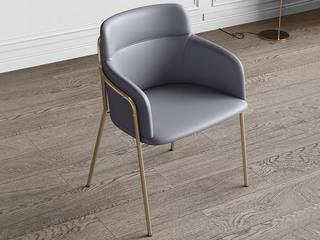 轻奢风格 优质皮艺 不锈钢电镀脚 灰色 书椅