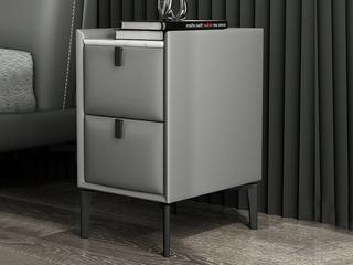 极简风格 岩板 实木内架 优质扪皮 浅灰色 床头柜