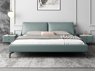 极简风格 岩板 实木内架 优质扪皮 清水蓝 床头柜