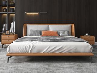 极简风格 实木内架 优质扪布 暮光橙 床头柜