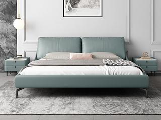 极简风格 岩板 实木内架 优质扪布 清水蓝 床头柜