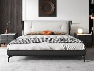极简风格 岩板 实木内架 优质扪布 深灰色 床头柜
