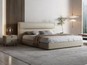 卡罗亚 极简风格 高弹软靠+实木框架 米黄色1.8米皮艺床(搭配实木排骨架)