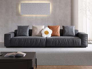 现代简约 高弹舒适 磨砂科技布 深灰色 3.4米 2+2组合沙发