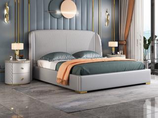 简美风格 真皮 高弹舒适  全实木床边 浅灰色 多功能储物实木高箱床 卧室1.8米双人床(图片为排骨架床)