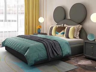 轻奢风格 柔软亲肤 墨绿色 布艺 实木高箱 米老鼠床头C款1.5*2.0米儿童床(图片为排骨架床)