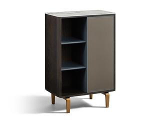 极简风格 古铜拉丝工艺 环保实用马鞍皮 防刮耐磨亮光岩板 边柜