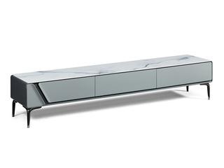 极简风格 蓝天白玉亮光岩板台面 防刮耐磨质感细腻 电视柜