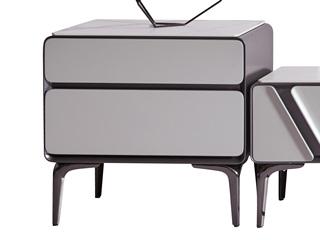 极简风格 防刮耐磨哑光岩板台面 质感细腻 双层储物边柜